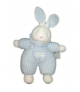 Peluche doudou tissu lapin bleu blanc vichy Bébé Jacadi 35 cm oreilles levées