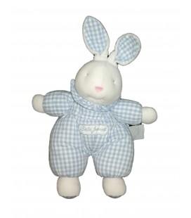 Vintage Peluche doudou tissu lapin bleu blanc vichy Bebe Jacadi 35 cm oreilles levees