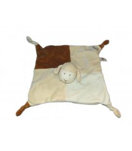 Doudou plat mouton marron beige blanc Lascar 4 noeuds