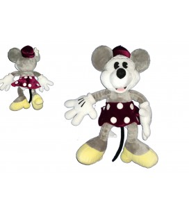 Peluche doudou Minnie Mouse Nicotoy 32 cm chapeau jupe bordeaux