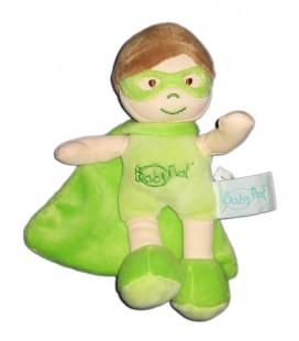Doudou Mon Super Heros vert Baby Nat BN759 20 cm Cape
