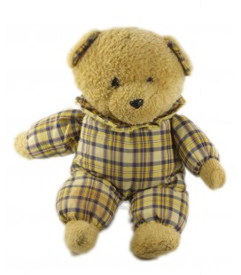 Doudou Peluche ours beige carreaux jaune grelot Nounours 32 cm