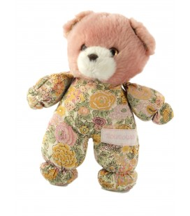 Petit ours doudou peluche rose tissu fleur Nounours 20 cm grelot