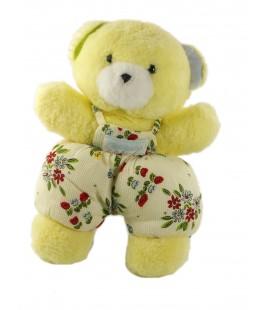 Peluche doudou ours jaune Salopette blanche fleurs Grelot Nounours 27 cm