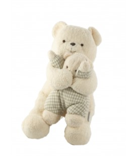 Peluche doudou ours blanc et son bébé Nounours 30 cm