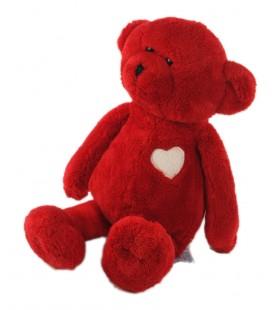 Peluche doudou ounours ours rouge coeur 32 cm