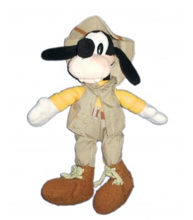 Peluche doudou Dingo Goofy Explorateur 26 cm Collector Disney Store Bean Bag