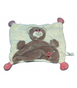Doudou plat chat blanc gris rose patte empreinte IN SPRL