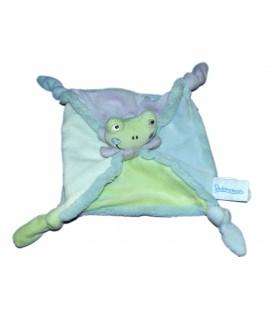 Doudou plat grenouille bleu vert mauve blanc Prémaman