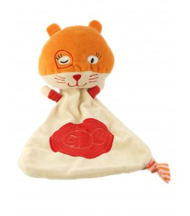 Doudou plat chat rouge orange - OXYBUL Fnac Eveil et Jeux