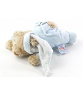 Peluche doudou oursbleu allongé grelot Baby Gund 19 cm Paisley baby collection