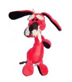 Peluche chien Lapin rouge JOUAL assis 32 cm