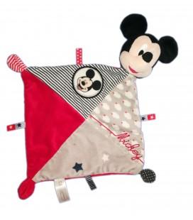 Doudou plat Mickey gris rouge nuages Etoiles Disney Nicotoy 587/2509