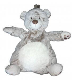 TEX Baby Carrefour - Peluche doudou range pyjama Ours chiné blanc marron 45 cm