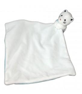 Doudou ours blanc bleu rayures mouchoir Obaibi