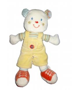 Doudou ours salopette jaune chiffre 2 Kiabi Avda 28 cm