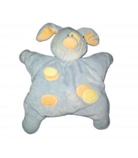 Doudou coussin semi plat Chien bleu ronds jaunes orange Grelot Kiabi Q0805