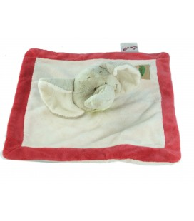 Doudou plat Carre elephant Bengy Jungle Beige Rouge Foulard Vert