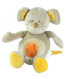 BENGY - Doudou peluche musicale souris grise Coccinelle 26 cm