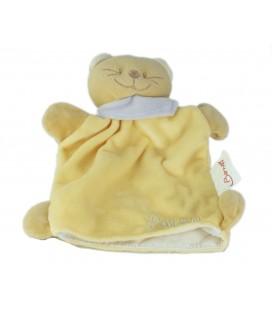 Doudou plat ours jaune marionnette foulard mauve Patou