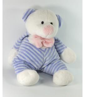 Peluche doudou ours blanc bleu rayures Altans Club 30 cm