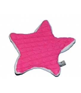 Doudou Etoile maille tricot blanc rose Baby s Only