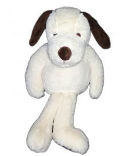 Doudou peluche chien marron blanc écru crème 28 cm BNI Marque Verte Les Créatives
