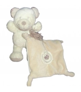 Doudou ours mouchoir Mon coeur Pommette 21 cm