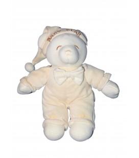 Doudou peluche ours beige clair brodé marron - Gipsy - Baby Bear 32 cm
