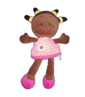 Ma première poupée Mila 28 cm métisse robe rose carreaux MINIMI qui rigole