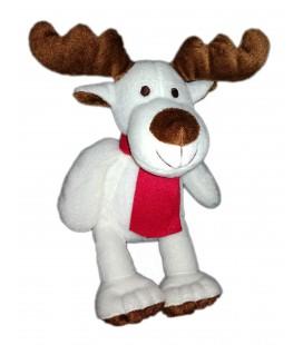Doudou peluche Renne Elan Courtepaille écharpe rouge assis 20 cm Noël
