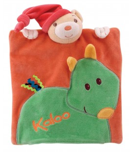 KALOO - Doudou Marionnette plat ours Pop Orange cheval Vert