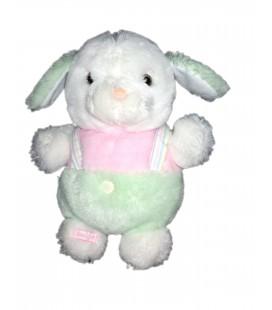 Peluche doudou chien la pin blanc rose vert pastel 26 cm Boulgom