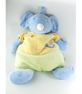 Doudou peluche Range Pyjama Souris bleue jaune vert Escargot soleil Vêtir 60 cm
