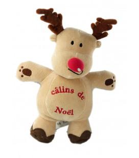 Peluche doudou renne élan beige marron nez rouge Câlins de Noël 24 cm Kimbaloo