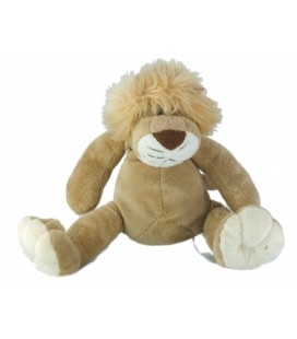 Peluche doudou lion beige Kimbaloo assis 20 cm