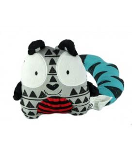 Doudou chat gris bleu rouge Kimbaloo La Halle ! 17 cm