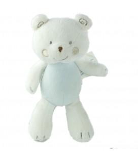 Doudou ours blanc bleu 20 cm Petit Kimbaloo La Halle !