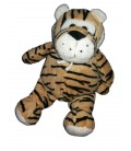 Peluche doudou Tigre beige marron noir bavoir Tiger CP International 30 cm