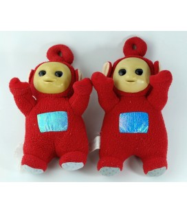 Lot de 2 doudous peluches Teletubbies rouge PO 20 cm Tomy