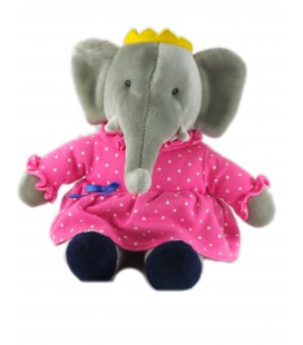 Peluche Doudou Elephant CELESTE Babar Grise robe rose 38 cm
