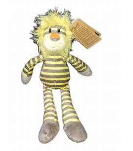 Doudou peluche lion gris jaune Carrefour CMI 35 cm