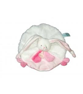 Lapin Les doudous câlin plat rond blanc rose Baby Nat