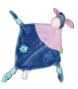 Doudou plat Bourriquet Disney Baby 3 nœuds Bleu violet fleur 587/8886