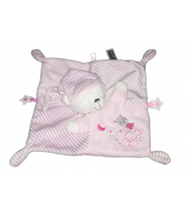 Doudou plat ours rose Moon lune etoile Max & Sax Carrefour