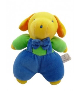 Doudou chien Lapin bleu jaune orange vert VULLI Hochet Grelot 21 cm