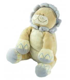 Doudou peluche musicale lion beige mauve Bengy 20 cm