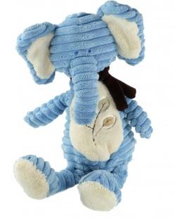 Doudou Peluche Velours cotele elephant bleu 38 cm Bengy