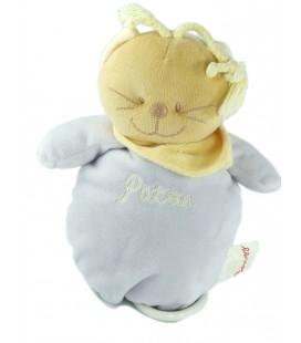 Doudou peluche musicale chat mauve foulard jaune Patou 22 cm