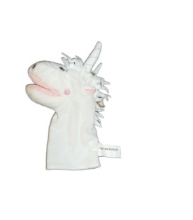 Peluche Marionnette doudou Licorne blanche IKEA Fantasivarld - H 30 cm
